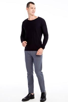 Erkek Giyim - ORTA FÜME 46 Beden Slim Fit Ekose Spor Pantolon