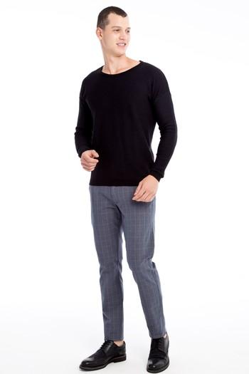 Erkek Giyim - Slim Fit Ekose Spor Pantolon