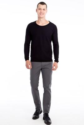 Erkek Giyim - Orta füme 46 Beden Slim Fit Balıksırtı Spor Pantolon