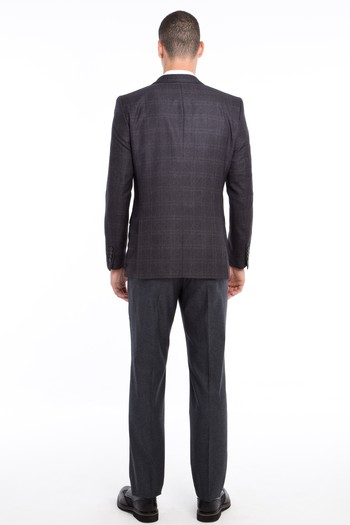 Erkek Giyim - Regular Fit Yelekli Ekose Takım Elbise