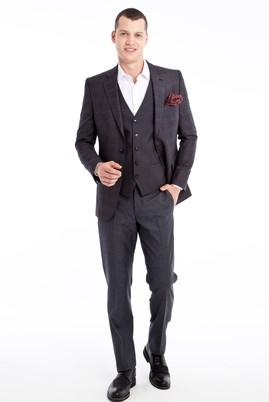 Erkek Giyim - Füme Gri 48 Beden Yelekli Ekose Takım Elbise