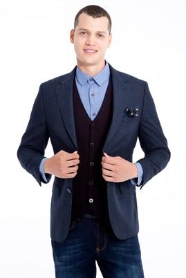 Erkek Giyim - Lacivert 48 Beden Desenli Klasik Ceket