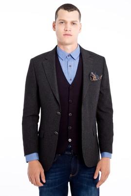 Erkek Giyim - KOYU YESİL 48 Beden Desenli Klasik Ceket