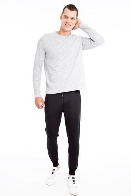 Erkek Giyim - Siyah L Beden Slim Fit Scuba Jogger Pantolon / Eşofman