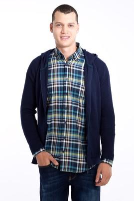 Erkek Giyim - Lacivert 3X Beden Kapüşonlu Desenli Hırka