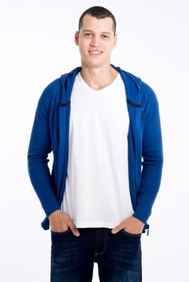 Erkek Giyim - Mavi 3X Beden Kapüşonlu Desenli Hırka