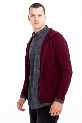 Erkek Giyim - Bordo 3X Beden Kapüşonlu Desenli Hırka