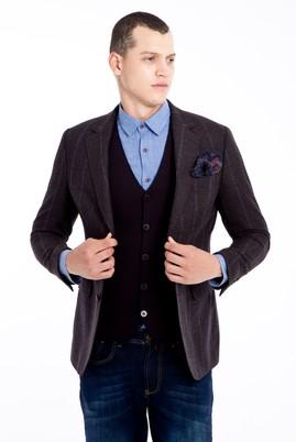 Erkek Giyim - KOYU KAHVE 50 Beden Ekose Klasik Ceket