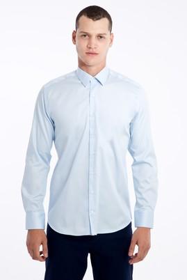 Erkek Giyim - Açık Mavi S Beden Uzun Kol Saten Slim Fit Gömlek