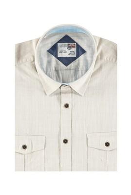 Erkek Giyim - Bej 4X Beden King Size Kısa Kol Spor Gömlek