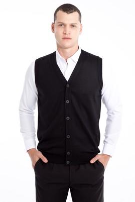 Erkek Giyim - Siyah M Beden Yünlü Triko Yelek
