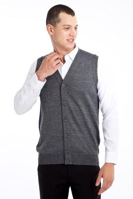 Erkek Giyim - Orta füme L Beden Yünlü Triko Yelek