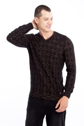 Erkek Giyim - Kahve L Beden V Yaka Slim Fit Triko Kazak