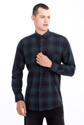 Erkek Giyim - KOYU YESİL L Beden Uzun Kol Ekose Gömlek