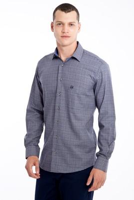Erkek Giyim - Lacivert XL Beden Uzun Kol Ekose Gömlek