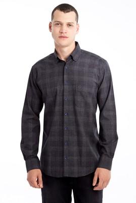 Erkek Giyim - Antrasit L Beden Uzun Kol Ekose Gömlek