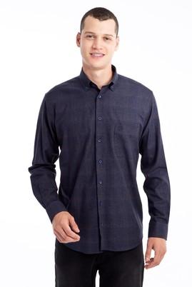 Erkek Giyim - Lacivert L Beden Uzun Kol Ekose Gömlek
