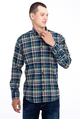 Erkek Giyim - Turkuaz L Beden Uzun Kol Ekose Gömlek