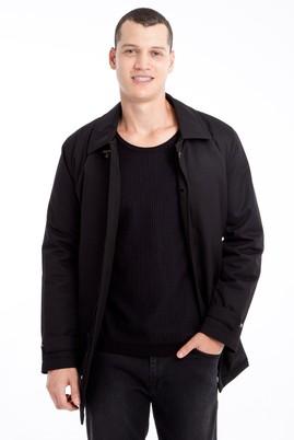 Erkek Giyim - Siyah 52 Beden Düz Pardösü