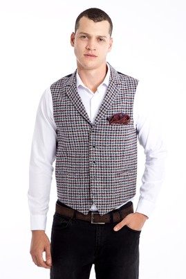 Erkek Giyim - Bordo 50 Beden Mono Yaka Yelek