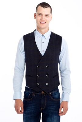Erkek Giyim - Antrasit 54 Beden Kruvaze Yelek