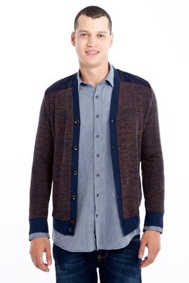 Erkek Giyim - Açık Kahve - Camel 3X Beden Slim Fit Sweatshirt / Hırka