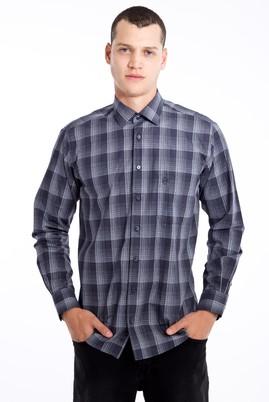 Erkek Giyim - Antrasit XL Beden Uzun Kol Ekose Gömlek