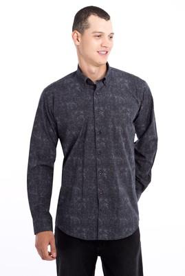 Erkek Giyim - Füme Gri L Beden Uzun Kol Desenli Gömlek