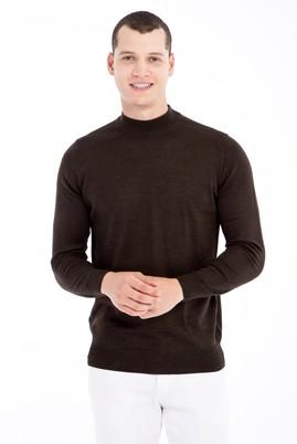 Erkek Giyim - Kahve 3X Beden Bato Yaka Yünlü Triko Kazak