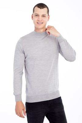 Erkek Giyim - Açık Gri 3X Beden Bato Yaka Yünlü Triko Kazak