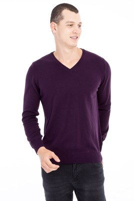 Erkek Giyim - Mor 3X Beden V Yaka Regular Fit Triko Kazak