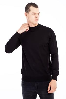 Erkek Giyim - Siyah XL Beden Bato Yaka Yünlü Triko Kazak