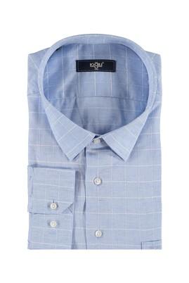 Erkek Giyim - Açık Mavi 5X Beden King Size Uzun Kol Ekose Gömlek