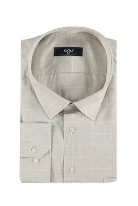 Erkek Giyim - Kum 6X Beden King Size Uzun Kol Ekose Gömlek