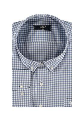 Erkek Giyim - Açık Mavi 7X Beden King Size Uzun Kol Ekose Gömlek