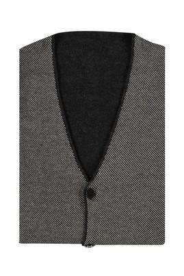 Erkek Giyim - Orta füme 4X Beden King Size Çift Taraflı Yünlü Yelek