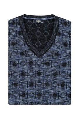 Erkek Giyim - Mavi 5X Beden King Size V Yaka Triko Kazak