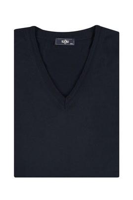 Erkek Giyim - Lacivert 6X Beden King Size V Yaka Yünlü Triko Kazak