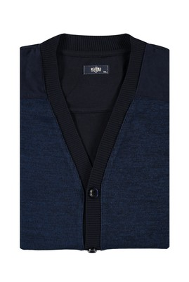 Erkek Giyim - Lacivert 4X Beden Büyük Beden Desenli Hırka