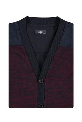 Erkek Giyim - Bordo 5X Beden King Size Desenli Hırka