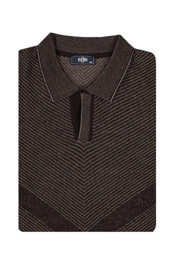 Erkek Giyim - King Size Polo Yaka Yünlü Triko Kazak
