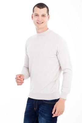 Erkek Giyim - Kum XL Beden Bato Yaka Yünlü Triko Kazak