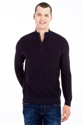 Erkek Giyim - Lacivert XXL Beden Bato Yaka Yünlü Desenli Triko Kazak
