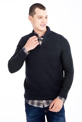 Erkek Giyim - Lacivert M Beden Bato Yaka Yünlü Desenli Triko Kazak