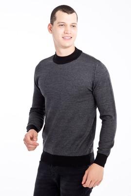 Erkek Giyim - Siyah L Beden Bato Yaka Yünlü Desenli Triko Kazak