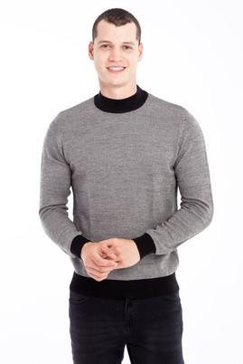 Erkek Giyim - Bej L Beden Bato Yaka Desenli Triko Kazak