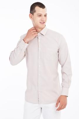 Erkek Giyim - Bej L Beden Uzun Kol Desenli Klasik Gömlek