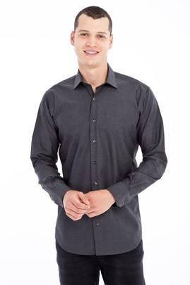 Erkek Giyim - Füme Gri 4X Beden Uzun Kol Desenli Klasik Gömlek