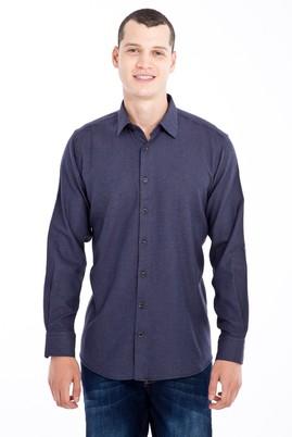 Erkek Giyim - Lacivert 3X Beden Uzun Kol Desenli Flanel Gömlek