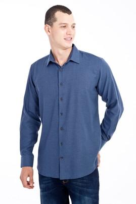 Erkek Giyim - KOYU MAVİ 4X Beden Uzun Kol Desenli Flanel Gömlek